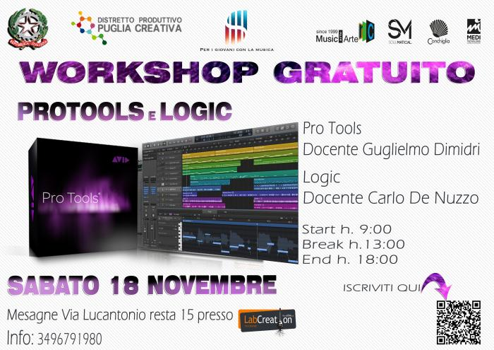 PRO TOOLS E LOGIC  WORKSHOP GRATUITO A LABCREATION